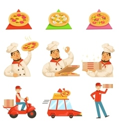 Pizza Delievery Fast Service Process Info vector image