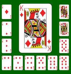 Playing cards suit diamonds vector