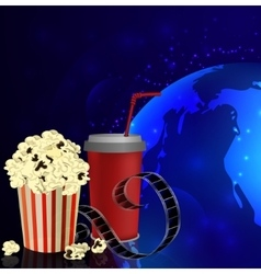 Popcorn and movie film vector