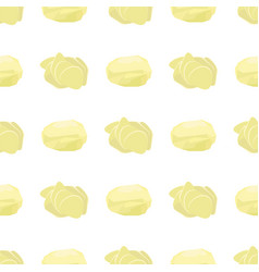 Potato seamless pattern whole slices circle vector