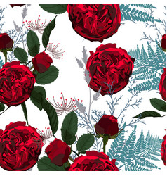 red flowers berries and herbs vector image