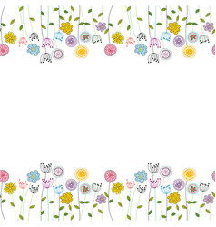 seamless funny floral border vector image