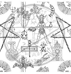 Seamless pattern with alchemy and mystic symbols vector