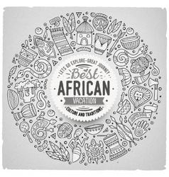 Set of Africa cartoon doodle objects round frame vector image
