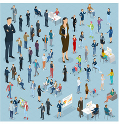 set of isometric people vector image