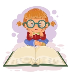 Small girl reading a book vector