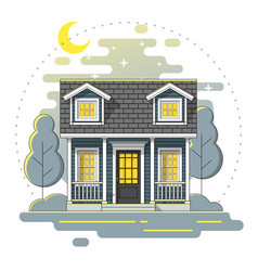 Small house and landscape night scene background vector