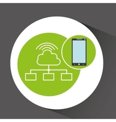 Smartphone app development cloud connection vector
