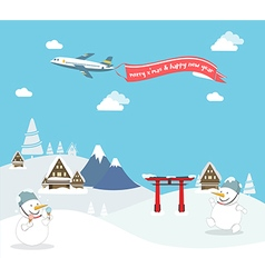 Snowman enjoy christmas travel in asia vector image vector image
