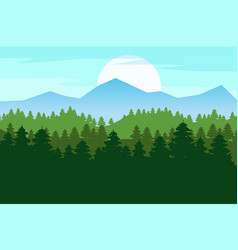 spring beautiful landscape forest silhouettes of vector image