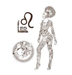 Stylized zodiac sign of leo vector