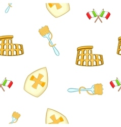 Symbols of Italy pattern cartoon style vector image