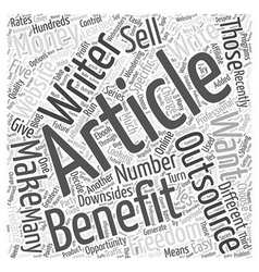 The Benefits of Outsourcing Article Writing Word vector