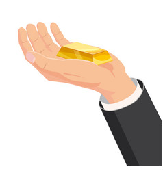 the hand that holds the bar gold gift cartoon vector image