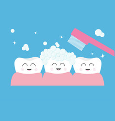 tooth gum icon three cute funny cartoon smiling vector image