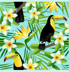 Tropical birds and palm leaves vector