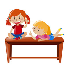 Two girls sitting on table vector