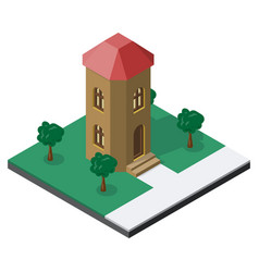 Two-storeyed tower with trees in isometric view vector