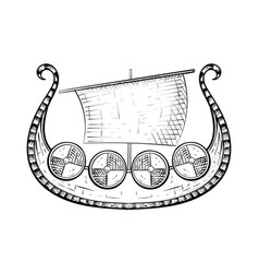 viking shiphand drawn sketch vector image