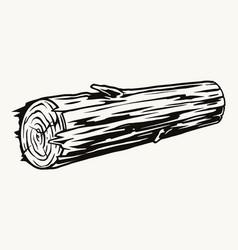 Vintage monochrome concept wood log vector