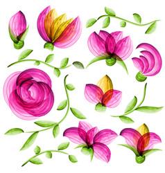 watercolor floral elements vector image