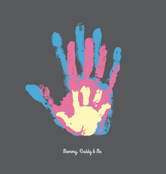 Watercolor handprint of family vector