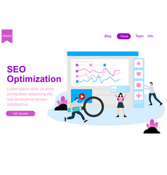 web page design for seo teamwork vector image