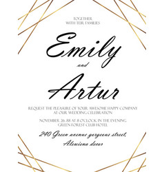 Wedding abstract invitation save the date card vector