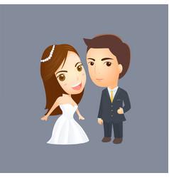 wedding cartoon invitation and graphic design vector image