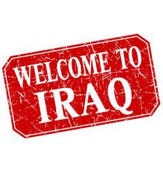 Welcome to iraq red square grunge stamp vector