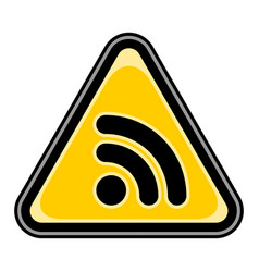 Wi-fi signal icon or rss sign triangular sticker vector