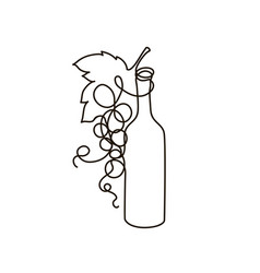 wine and bunch grapes continuous line vector image