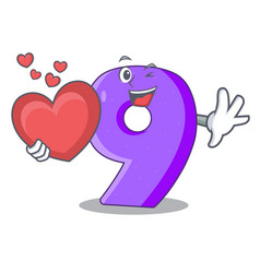 With heart number nine balloon font shaped vector