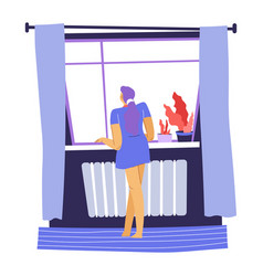 Woman looking out window from home vector