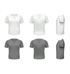 black and white t-shirt front side back view vector image