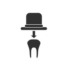 Black icon on white background dental crown vector