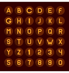 Flat Style Red Gamma Alphabet and Numbers Icons vector image