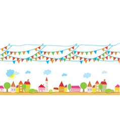 Funny house and flags background vector image