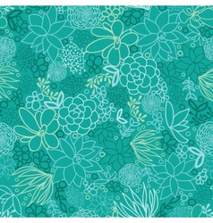 Green succulents seamless pattern background vector image vector image