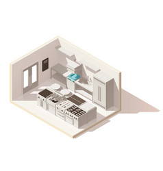 isometric low poly professional kitchen vector image vector image