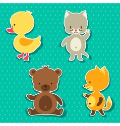 Little cute baby cat bear fox and duck stickers vector image