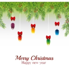 merry christmas card happy new year balls ribbon vector image