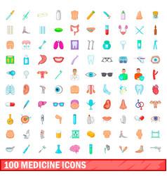 100 medicine icons set cartoon style vector image vector image