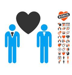 gay lovers icon with valentine bonus vector image