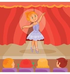 Little girl ballerina giving a presentation vector image