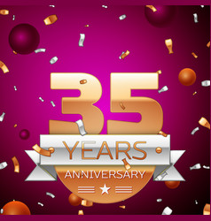 Thirty five years anniversary celebration design vector