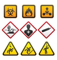 warning symbols hazard signssecond set vector image vector image