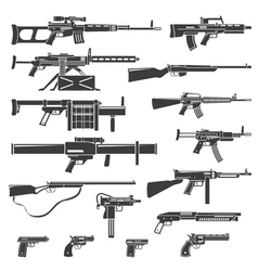 Weapons And Guns Monochrome Set vector image vector image