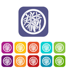 asian salad icons set flat vector image vector image