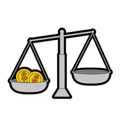 balance measure with coins vector image